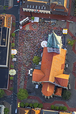 Aerial view, public viewing area at the Euro 2012 quarter final match Germany vs Greece, Pauluskirche, St. Paul's Church, Hamm, Ruhr Area, North Rhine-Westphalia, Germany, Europe