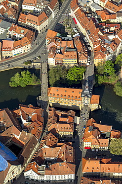 Aerial view, old town hall, Main river, bridges across the Main river, Bamberg, Upper Franconia, Bavaria, Germany, Europe