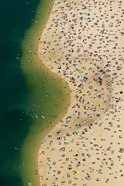 Aerial view, a sandy beach on a bathing lake, Lake Silbersee, near Haltern, Ruhr region, North Rhine-Westphalia, Germany, Europe