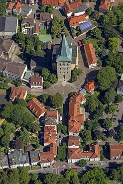 Aerial view, Katharinenkirche church, Osnabrueck, Lower Saxony, Germany, Europe
