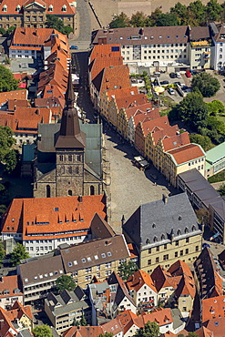 Aerial view, Marienkirche church, historic district, Osnabrueck, Lower Saxony, Germany, Europe