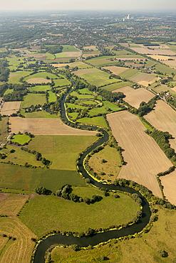 Aerial view, Lippe river, meander, meadows, fields, Bergkamen, Ruhr area, North Rhine-Westphalia, Germany, Europe