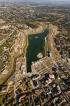 Aerial view, Emscher river, Lake PhoenixSee, Dortmund, Ruhr area, North Rhine-Westphalia, Germany, Europe