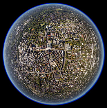 Aerial view, shot with a fisheye lens, city centre of Gelsenkirchen, Ruhr area, North Rhine-Westphalia, Germany, Europe