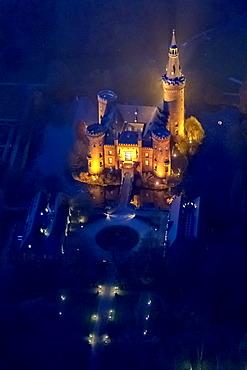 Aerial view of Moyland moated castle, neo-Gothic style, night shot, Bedburg-Hau, North Rhine-Westphalia, Germany, Europe
