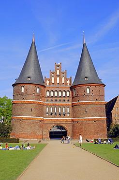Holstentor gate, Holsten Gate, Luebeck, Schleswig-Holstein, Germany, Europe, PublicGround