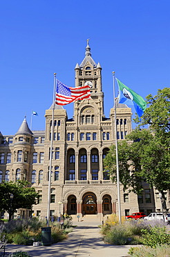 Flags in front of the City and County Building, Salt Lake City, Utah, USA