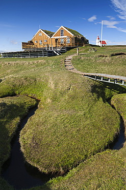 Café, restaurant, office of the campground, Moeðrudalur farm, Iceland's highest situated farm, Highlands of Iceland, Iceland, Europe
