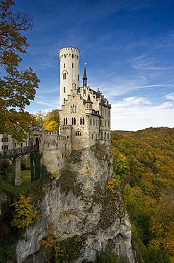 Schloss Lichtenstein Castle, Honau, Swabian Alb, Baden-Wuerttemberg, Germany, Europe