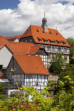 Medieval town with the Town Hall, Warburg, North Rhine-Westphalia, Germany, Europe, PublicGround