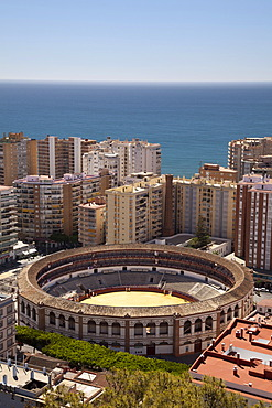 View from Monte de Gibralfaro over a bullring surrounded by skyscrapers, M√°laga, Andalucia, Spain, Europe, PublicGround