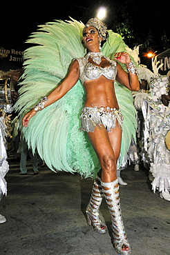 Samba dancer and model Luiza Brunet, Imperatriz Leopoldense samba school, Carnaval in Rio de Janeiro 2010, Brazil, South America