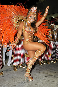 Dancer of the Academicos do Salgueiro samba school at the Carnaval in Rio de Janeiro 2010, Brazil, South America