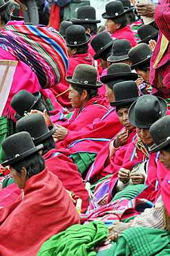 Women in traditional dress of the Aymara Indians at the re-election ceremony for President Evo Morales Ayma in Tiwanaku, La Paz, Bolivia, South America