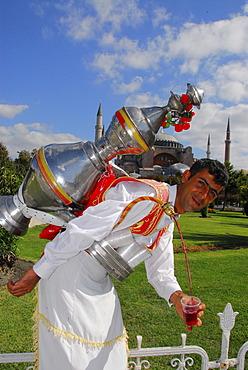 Man selling tea in front of Hagia Sophia, Istanbul, Turkey
