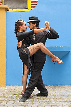 Couple of Tango dancers, El Caminito street, La Boca district, Buenos Aires, Argentina, South America