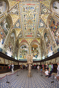Interior view, south view of the Cathedral Library, Libreria Piccolomini, Cathedral of Siena, Cattedrale di Santa Maria Assunta, main church of the city of Siena, Tuscany, Italy, Europe