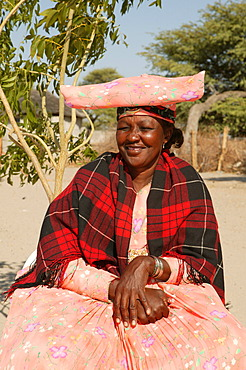 Woman wearing traditional costume, Sehitwa, Botswana, Africa