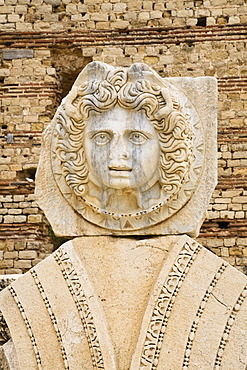 Head of Medusa, Medusa medallion, relief, New Forum, Severan Forum of Septimus Severus, Leptis Magna, Libya, North Africa, Africa