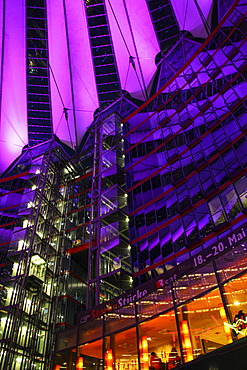 Sony Center in the twilight, Potsdamer Platz square, Berlin, Germany, Europe