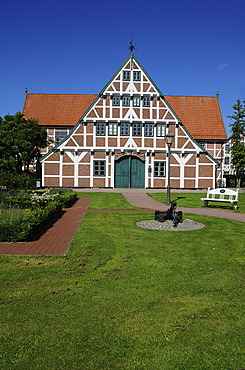 Half-timbered house, Town Hall, Jork, Altes Land, Lower Saxony, Germany, Europe, PublicGround