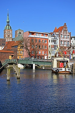 View of old brick buildings at Stralsund harbour as seen from Querkanal channel, UNESCO World Heritage site, Mecklenburg-Western Pomerania, Germany, Europe, PublicGround