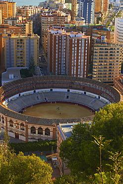 Bullring, view from Gibralfaro, Malaga, Costa del Sol, Andalucia, Spain, Europe