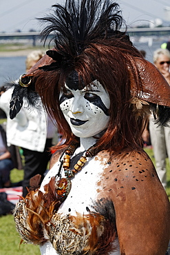 Cosplayer dressed as a bird of prey, with feathers and body painting, Japan Day, Duesseldorf, North Rhine-Westphalia, Germany, Europe