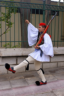 Evzone, Greek guard soldier from the village Evzone, traditional changing of the guard in front of the Greek Parliament, Athens, Greece, Europe