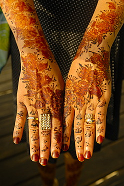 Hands painted with henna after a wedding ceremony, Grand Comore, Comoros, Africa