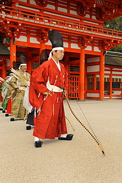 Archers at shooting ritual, archery ceremonial in Shimogamo Shrine, Kyoto, Japan, Asia