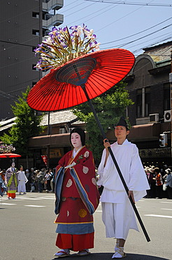 Aoi festival, procession from the Imperial Palace to the Shimogamo Shrine, court lady of the Saio dai in traditional costume from the Heian period, Kyoto, Japan, Asia