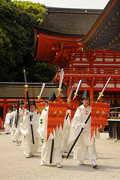 Beginning of the procession from the Shimogamo to the Mikage shrine at Mt. Mikage, west of the Hie Mountain, Kyoto, Japan, Asia