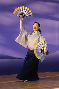 Women at a fan dance, Nihon Buyo, at the Cherry Blossom Festival, Hanami in Kyoto, Japan, Asia