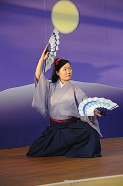 Fan dance, Nihon Buyo, at the Cherry Blossom Festival, Hanami in Kyoto, Japan, Asia