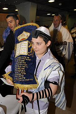 Bar Mitzvah, Jewish coming of age ritual, Torah scroll is taken back to the cabinet, Western Wall or Wailing Wall, Old City of Jerusalem, Arab Quarter, Israel, Middle East