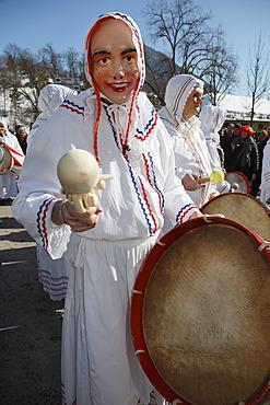 Trommelweiber, drumming women, Carnival in Bad Aussee, Ausseerland, Salzkammergut, Styria, Austria, Europe, PublicGround