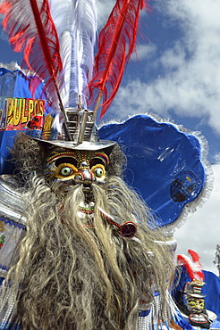 Mask at the largest Indio carnival in the world, Diablada, Dance of the Devils, living UNESCO World Heritage Site, Oruro, Bolivia, South America