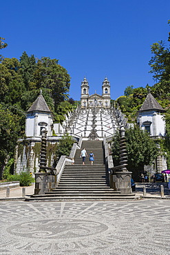 Igreja do Bom Jesus with Escadorio dos Cinco Sentidos, Staircase of Five Senses, Santuario do Bom Jesus do Monte, Good Jesus of the Mount sanctuary, Tenoes, Braga, Cavado, Norte, Portugal, Europe