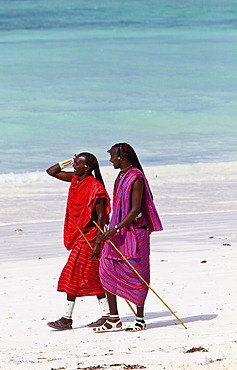 Maasai warriors on a beach, Zanzibar, Tanzania, Africa