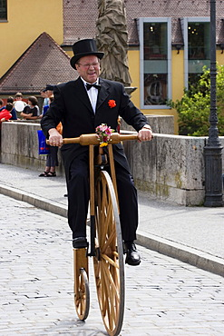 Old bicycle Kiliani festive procession Würzburg Wuerzburg Franconia Bavaria Germany
