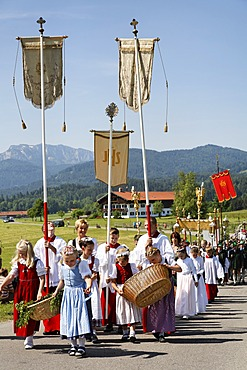 Feast of Corpus Christi procession Wackersberg Upper Bavaria Germany
