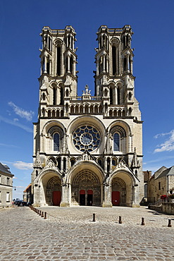 Laon Cathedral, west facade, Laon, Via Francigena, an ancient road from France to Rome, department of Aisne, Picardy region, France, Europe