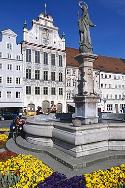 Maria column, Landsberg at the Lech, Allgaeu, Bavaria, Germany