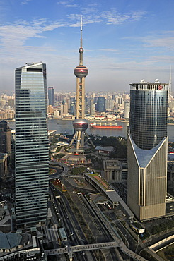 View of the skyline with the Oriental Pearl Tower as seen from the Grand Hyatt Hotel, Pudong, Shanghai, China, Asia