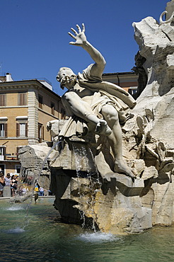 Fountain of the Four Rivers, designed by Bernini, Piazza Navona, Rome, Italy, Europe