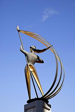Statue of Windsbraut, The Tempest, by Hermann Menzel at Willy-Brandt-Platz square, Flensburg, Schleswig-Holstein, Germany, Europe