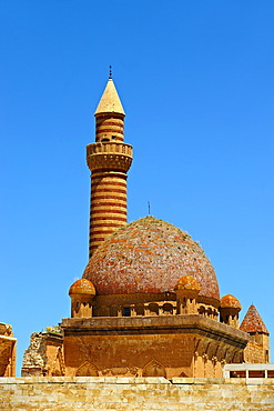 Mosque of the 18th century Ottoman architecture of the Ishak Pasha Palace, A&r& province of eastern Turkey