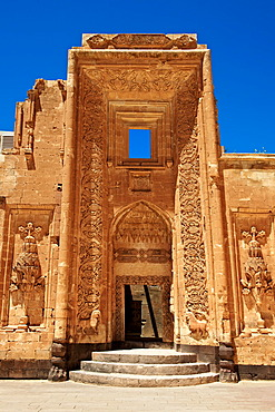 Entrance to the 18th century Ottoman architecture of the Ishak Pasha Palace, A&r& province, eastern Turkey