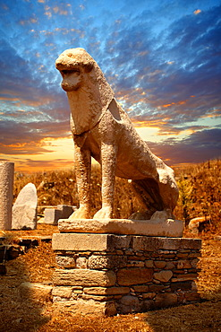 The Avenue of the Lions in the ruins of the Greek city of Delos, the birthplace of the twin gods Apollo and Artemis, Cyclades Islands, Greece, Europe